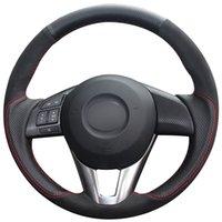 Schwarz Naturleder Schwarz Suede Car Lenkradbezug für Mazda 3 Axela Mazda 6 Atenza Mazda 2 CX3 CX3 CX5 CX5 Scion iA