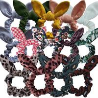 Hochwertiger Stirnband Plaid Kaninchen-Ohr-Blumen Scrunchies Leopard Punktpferdeschwanz-Halter Hair Mädchen Elastic-Knoten-Bogen-Haar-Band-Robe