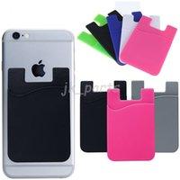 Universal ultra-slim auto adesivo casos cartão de crédito carteira conjunto de silicone colorido telefone celular casefor 15 pro max 11 xs xr x