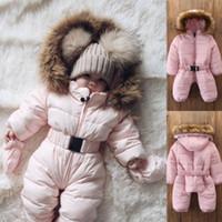 2019 Winter-Thick Schnee tragen Kleinkind-Baby-Mädchen-Winter-Spielanzug Jacke mit Kapuze Kinder Outwear Overall-Mantel-Outfit