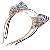 Pudcoco Yeni Kristal Kedi Kulak Hairband Çocuklar Kızlar Sevimli Metal Rhinestone Kafa Saç Aksesuarları Şapkalar Doğum Günü Partisi Cosplay