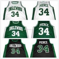 بول بيرس # 34 Inglewood المدرسة الثانوية الأبيض الأخضر الأسود الرجعية كرة السلة الفانيلة رجل مخيط مخصص أي رقم الاسم