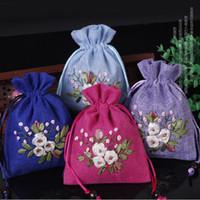 Небольшой шнурок мешок ручной работы Лента вышивка белье подарочная сумка партия пользу сумки пустой Саше ткань ювелирные изделия упаковка сумки 10 шт. / лот