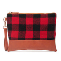 Wholesale Red Plaid Wrist Let Purse Hot Sale Custom Cosmetic...
