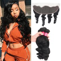 Remy Brazilian Hair Loose Wave 3 Bundles With 13x4 Ear To Ea...