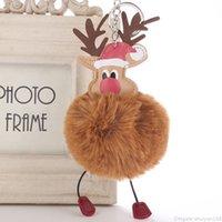 Weihnachten Elk Anhänger Schlüsselanhänger Pompom-Pelz-Kugel Schlüsselanhänger Weihnachten verziert Party Schlüsselanhänger Bevorzugungen Neujahr Schmuck Accessoires