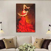 pinturas al óleo Retrato figura arte flamenco español bailarín abstracta hecha a la imagen de la lona de la mujer para el dormitorio de alta calidad