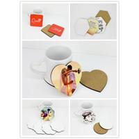 Fai da te in legno sughero Coaster Coaster Blank 5 Stile di poter postare Yourself Foto Insulated Coaster Decorazione della tavola XD23176