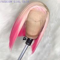 2020 Nuovo stile Sintetico Dritto Bionda Ombre rosa 13x4 Parrucche anteriori in pizzo Parrucca Breve Bob Parrucca Brasiliana Simulazione brasiliana Parrucche dei capelli umani 150% Densità