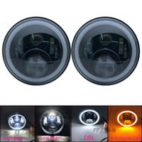 "7 ""LED HALO Footlights con H4 para Land Rover Defender 7 pulgadas de faro con señal de giro ámbar para Jeep JK TJ LJ WRANGLER LADA NIVA 4X4"