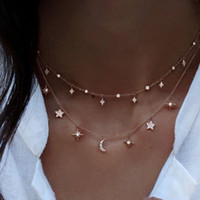 Mode MultiLouche Collier Collier Star Moon Chaîne Or Femmes Summer Bijoux