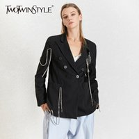TWOTWINSTYLE Diamonds Patchwork Blazer For Women Notched Col...