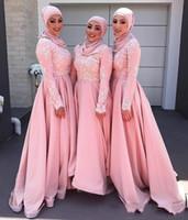 2020 Vintage Blush Pink musulmana damigella d'equipaggio abiti a maniche lunghe di Applique Abiti da sera una linea di Modest abito da damigella d'onore