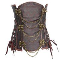 Donne Steampunk Jacquard Corsetti Luxury Lingerie Clubwear sexy Underbust di dimagramento corsetto Shapers con catene swing e Lace-Up Side Dettagli