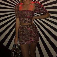Damen Pailletten Glitzer-Röcke 2 Stück Sets 2020 Fashion Square Kragen Kurze Tops Backless Navel Matching Röcke Sexy Nachtclub Anzüge Outfits