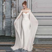 흰색 쉬폰 긴 신부는 어깨 레이스 결혼식 숄을 래핑합니다. 웨딩 드레스에 대 한 웨딩 드레스를위한 망토 망토
