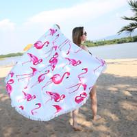 XC USHIO 2019 Date Style Flamingo 450G Ronde Serviette De Plage Avec Glands Microfibre 150 cm Pique-Nique Couverture Tapis Tapisserie