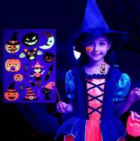 Halloween luminoso colorido do tatuagem adesivos Fantasma Taty for Fake Crianças tatuagem Bruxa de incandescência na obscuridade impermeável Tatuagem Temporária Party Decorati