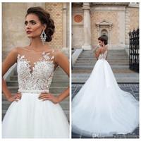 Barato Talla grande A-Línea Vestidos de novia Sheer Cuello Appliques de encaje Tulle Vestido de boda Bridales Bata de matrimonio Vestidos de Novia