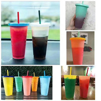 Ins Hot Cold Corlor Change Mug 700ml 5pcs set with Lid Straw...