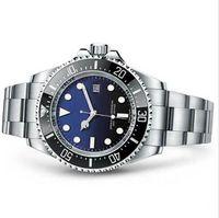 para hombre del reloj para hombre profundo de cerámica Bisel MAR Zafiro Cystal acero inoxidable con deslizamiento de bloqueo de cierre mecánico automático relojes Negro Azul R06-2