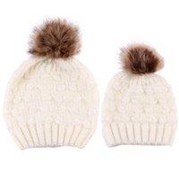 Bebê crianças Pompon malha chapéu crianças tricô crianças gorro infantis toda mãe chapéu combinando quente e filha A2842 gorro