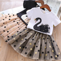 Girls Summer Crown Swan patchwork outfits 2pc set short slee...