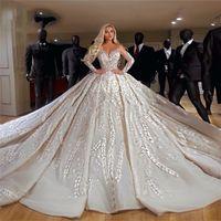 Sheer V-Neck 웨딩 드레스 2019 Couture 긴 소매 중동 가스트 신부 가운 가운 드 Mariee Dubai Kaftans Vestido de Noiva