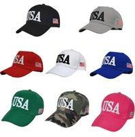 EE.UU. Bandera Cap algodón del sombrero de las gorras de béisbol 45 Presidente Donald Trump Soporte gorra de béisbol del Snapback unisex Novedad Sombreros ajustables GGA3363