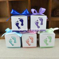 100 unids bebé pies hueco caramelo cajas láser cortadas con cinta favor de boda baby shower fiesta de cumpleaños caja de regalo