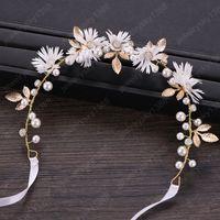 Witte bloem parel strass lint hoofdband tiaras hoofddeksel bruids hoofd stuk haar sieraden vrouwen bruiloft haaraccessoires