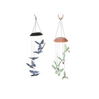 Solar lâmpada de beija-flor alimentado Cor-Changing Solar Mobile Wind Chime Waterproof LED Solar Powered Lâmpada de suspensão para exterior