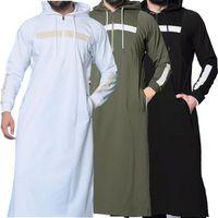 2020 Yeni Erkekler Elbise Müslüman Arap Robe Katı Renk Tam Boy Kazak Uzun-kollu Kapşonlu İslam Erkek Casual Giyim