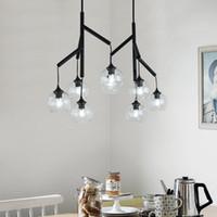 Çalışma oturma odası yatak odası restoran armatürleri için Post modern basit Siyah LED kolye ışıkları Nordic Net Cam asılı lamba