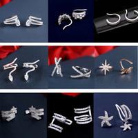 Venta caliente Diminuto Encanto Mujeres Clip Pendiente Oreja Cristal Estrella Gota de Agua Ear Cuff Sin Agujero Cubic Zirconia Joyería Para Mujeres Regalo de Fiesta