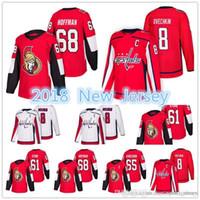 2018 Yeni Washington Capitals Ottawa Senatörleri Jersey Erkek # 8 Alex Ovechkin 61 Mark Stone 65 Erik Karlsso 68 Mike Hoffman Formaları