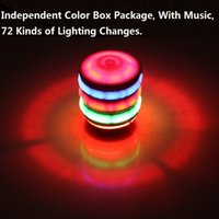 7 colores Fidget Spinner Kids toys Musical Gyro Flash LED luz colorida Spinning imitación madera Gyro Glitter Music Light L161