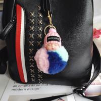 Cute dormire Catena Baby Doll portachiavi colorato Pompon sfera moschettone portachiavi Portachiavi Donne chiave bambini pendente del sacchetto chiave Anello favore RRA2895