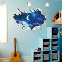 3D Break The Wall Moon Night Sky Landscape Wall Stickers Camera da letto Personalità Comodino TV Sfondo Murales