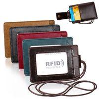 IRF ID fenêtre Badge carte de crédit Portefeuille unisexe en cuir véritable col photo Holder Porte-monnaie Collier avec cordon