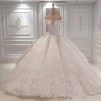 어깨 웨딩 드레스 2020 레이스 아플리케 공 가운 스윕 트레인 가운 vestido de novia 2020 레이스 아플리케