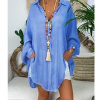 Cotone da donna Lino top e camicie Plus Size manica lunga gira giù femminile tunica Button sottile autunno Camicie Casual Blusas
