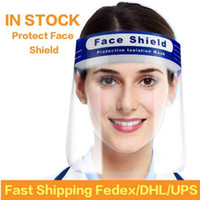 DHL 선박 미국 주식 방적 보호 얼굴 방패 재사용 풀 페이스 보호 타액 보호 클리어 바이저 호흡 마스크