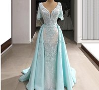2020 chic Long mermaid Evening Dress short sleeves with detachabled train Formal prom Gowns cheap custom made