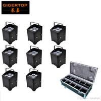 8IN1 Gigertop شحن علب Flightcase حزمة 4x6W الصامت البطارية اللاسلكية الألومنيوم بقيادة الاسمية لا مروحة تشغيل 10000MAH Andrid / فون البرمجيات