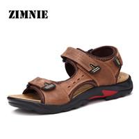Sandalen Zimnie Atmungsaktive Sommer weiche bequeme Männer Schuhe Kuh Lederschuhe handgefertigte Hight-Qualität Sandale Größe 38 ~ 48