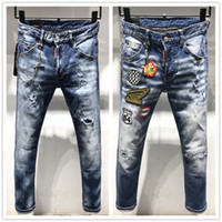 2019 New Italy Luxus Fashion Designer Distressed Ripped Herren Jeans Motorrad Biker Jeans Causal HOLE Denim Hosen Streetwear Herren Jeans