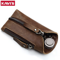 Kavis Genuine Leather Housekeeper Key Wallet Smart Car Bag Pouch Ring Wrap Fo Organizer Case Man With Coin Card Holder Keychain Y19052202