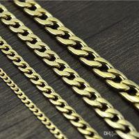 Collier de chaîne Figaro en acier inoxydable Ne jamais fade en acier inoxydable 4 tailles Hommes bijoux 18k véritable jaune plaqué or 9mm Chaîne colliers pour femmes Mens