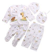 0-3M Bebé recién nacido Unisex Ropa interior ropa interior Impresión animal Camisa y pantalones 2pcs Boys Girls Algodón suave